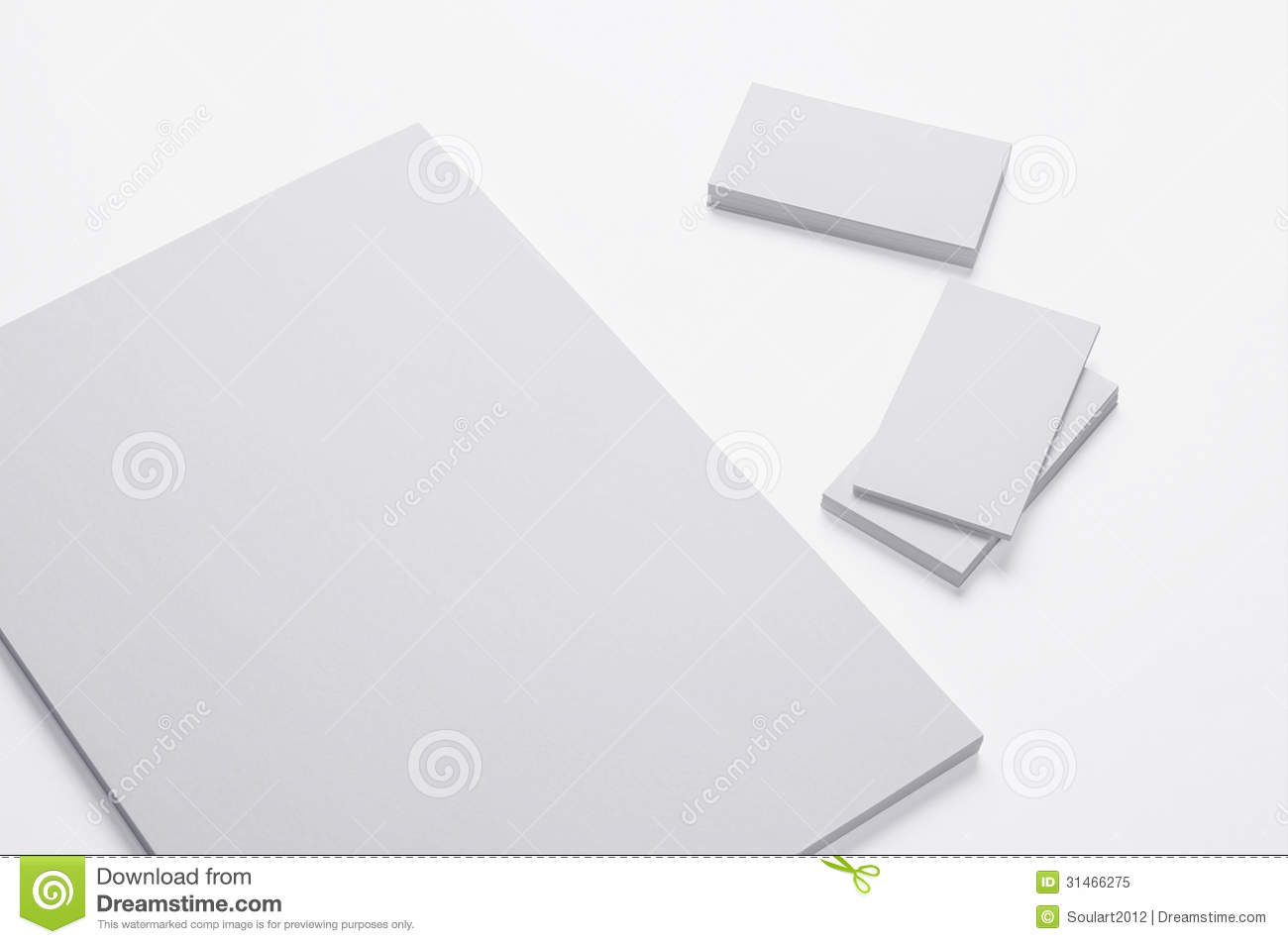 blank a4 print paper and business cards on white royalty