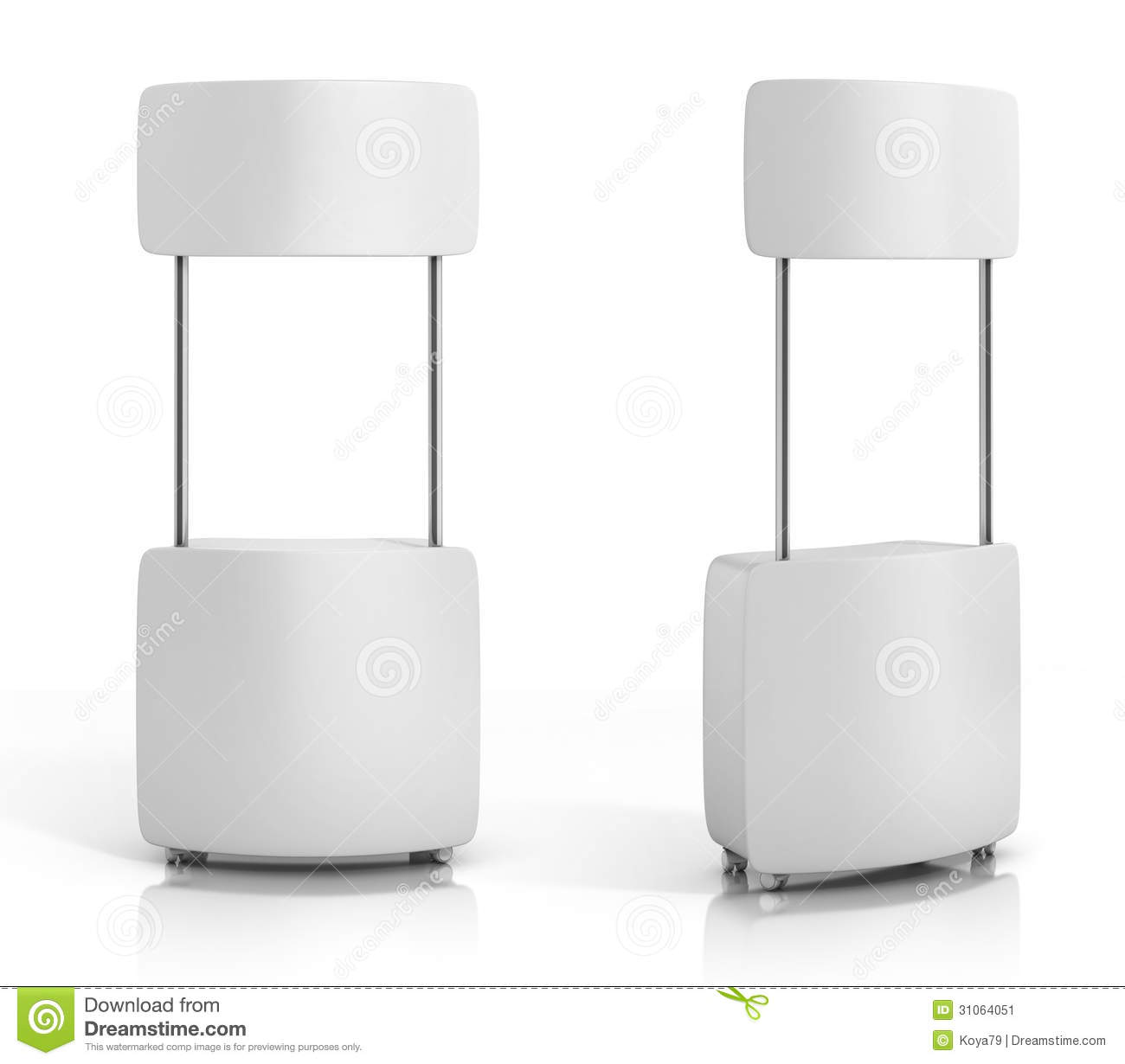 Blank Promotion Counter Isolated On The White Background