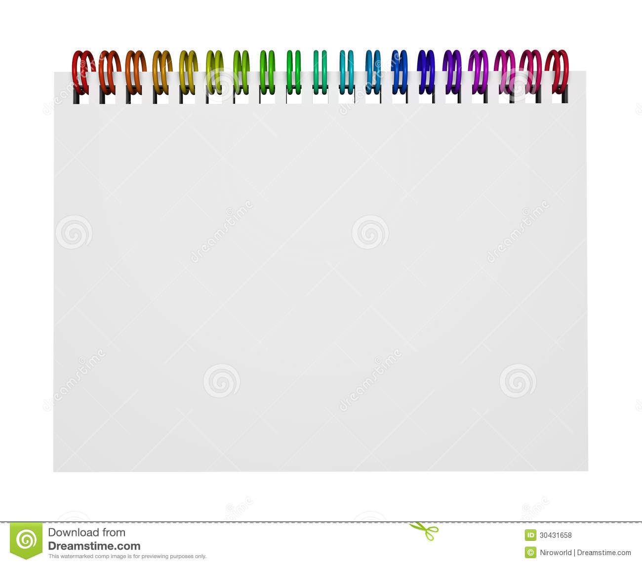 Top view of a notebook or ring binder with rainbow colorful rings and ...