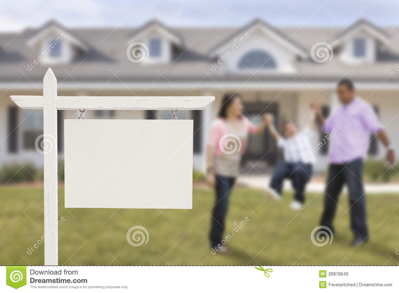 blank real estate sign and hispanic family in front of
