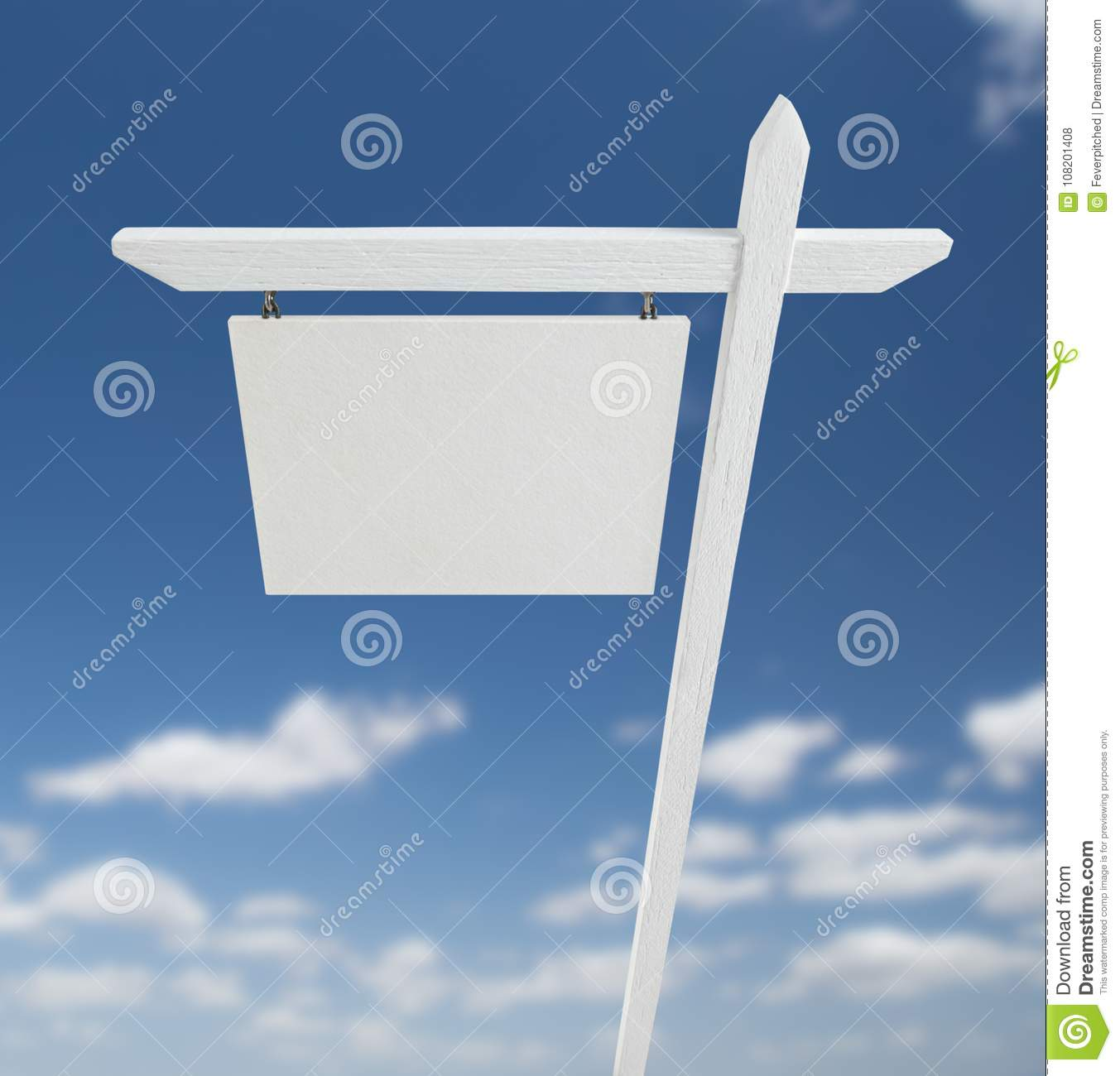 Blank Real Estate Sign Over A Blue Sky With Clouds. Stock