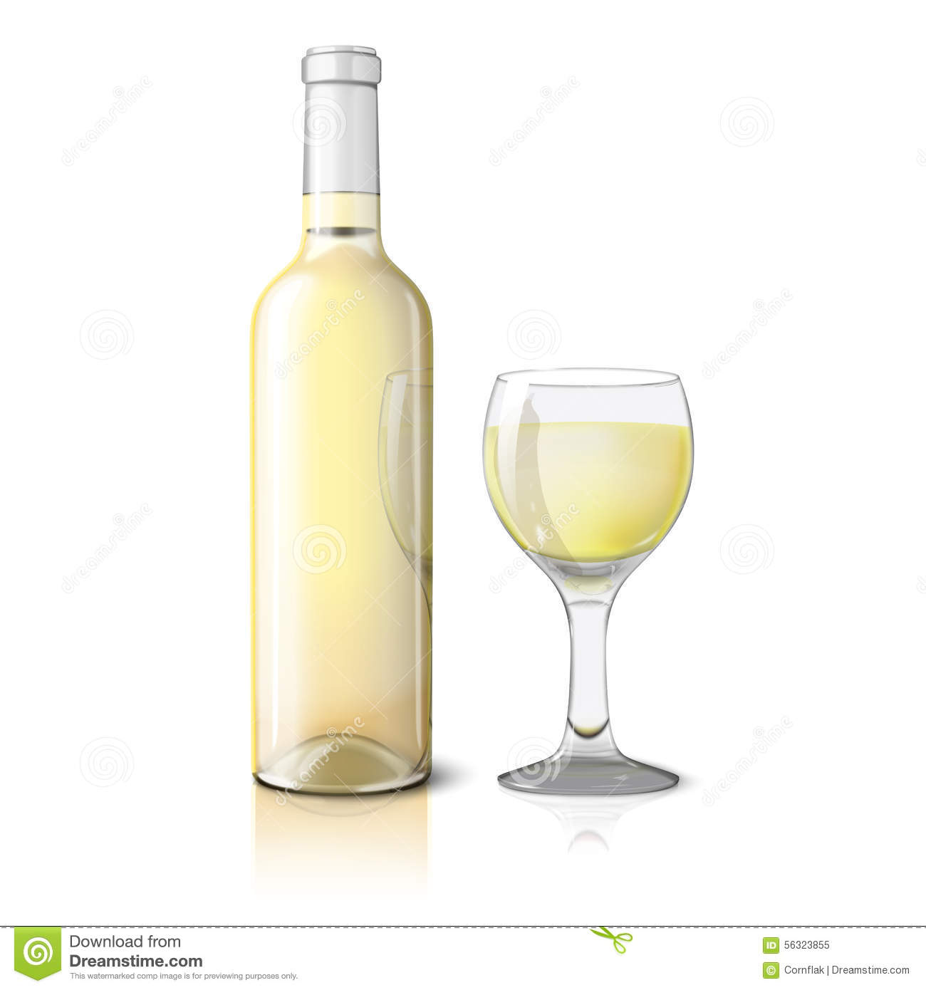 Blank Realistic Bottle For Wine With Glass Stock Vector ...