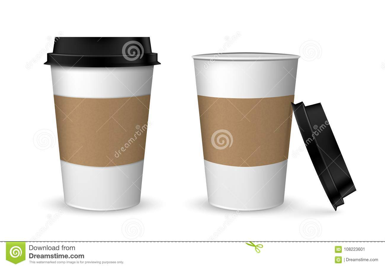 Blank Realistic Coffee Cup Mockup Paper Set Cups Isolated On