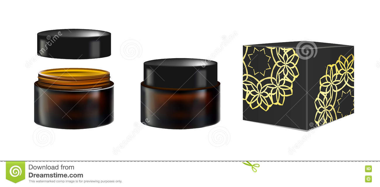 Blank Realistic Cosmetic Container For Face Cream Powder