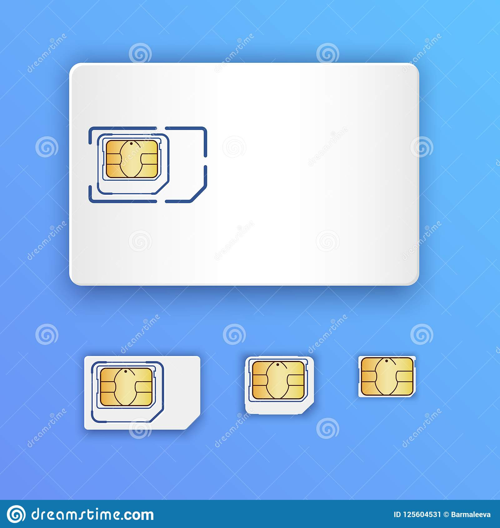 Blank Realistic Sim Card Set Of Sim Cards Full Size Mini Micro