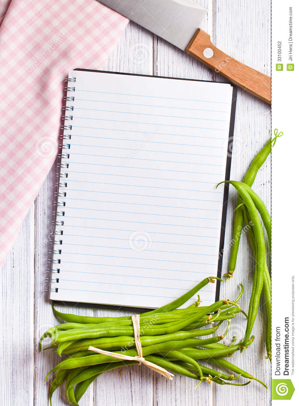 Blank Recipe Book With Green Beans Stock Photo Image