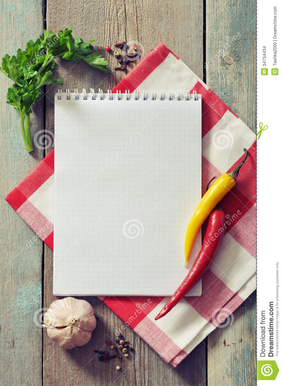Blank Cookbook Cover Blank recipe book with kitchen