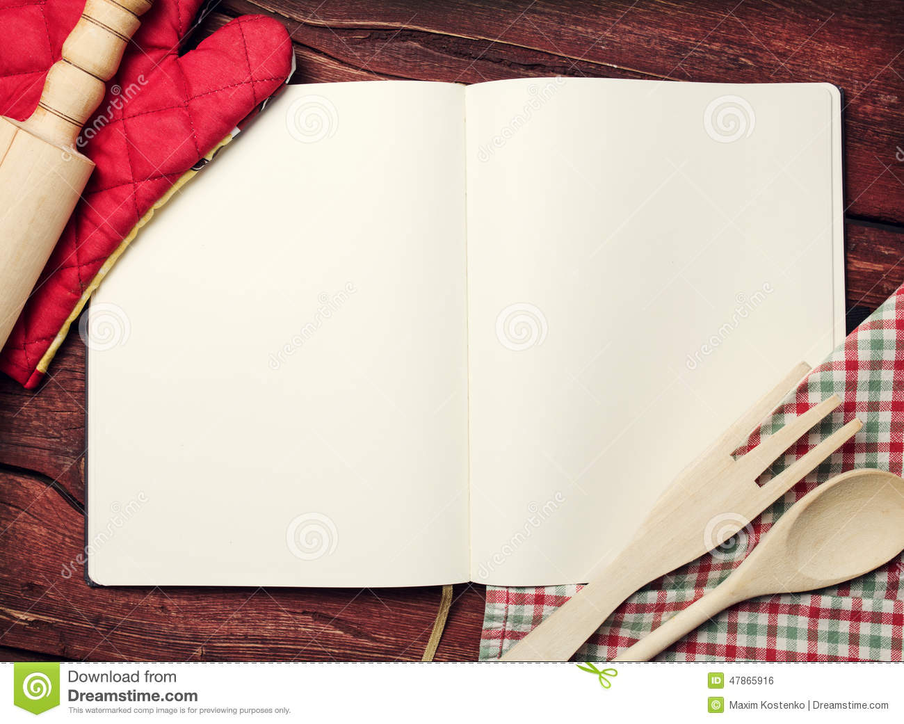 Blank Recipe Book On Table Stock Photo - Image: 47865916