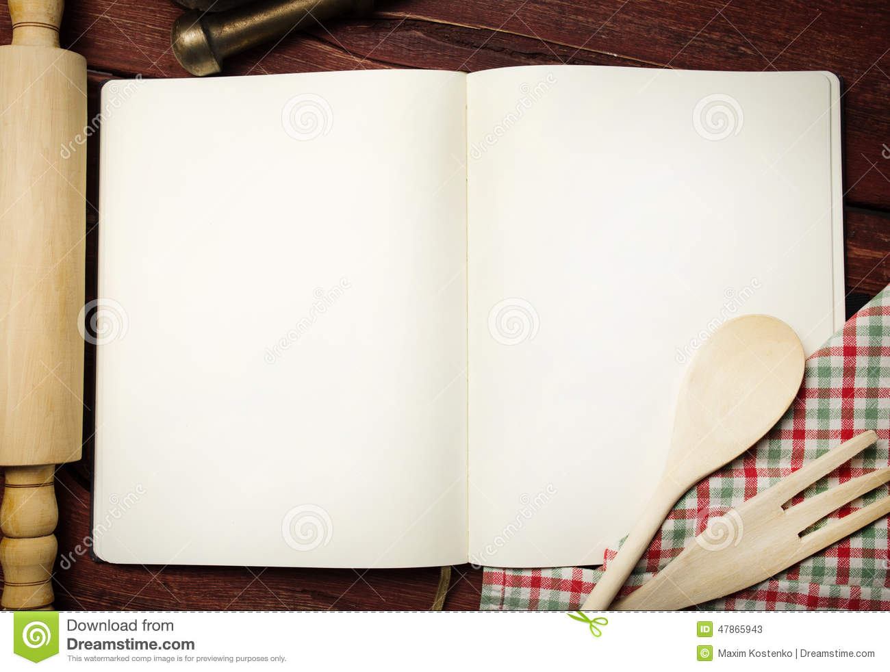 blank recipe book on table stock image  image of bake