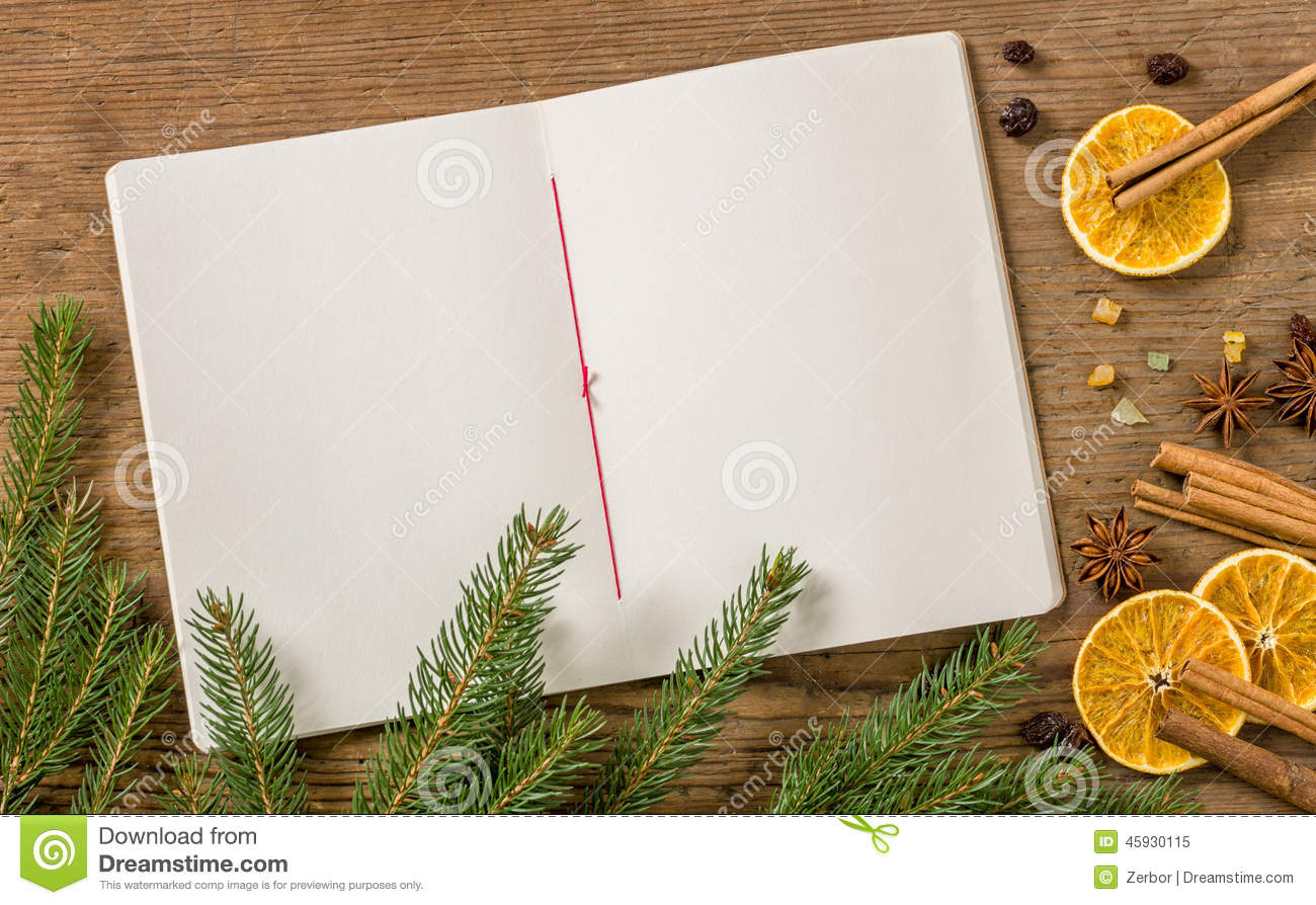 Blank recipe booklett with Christmas Decoration