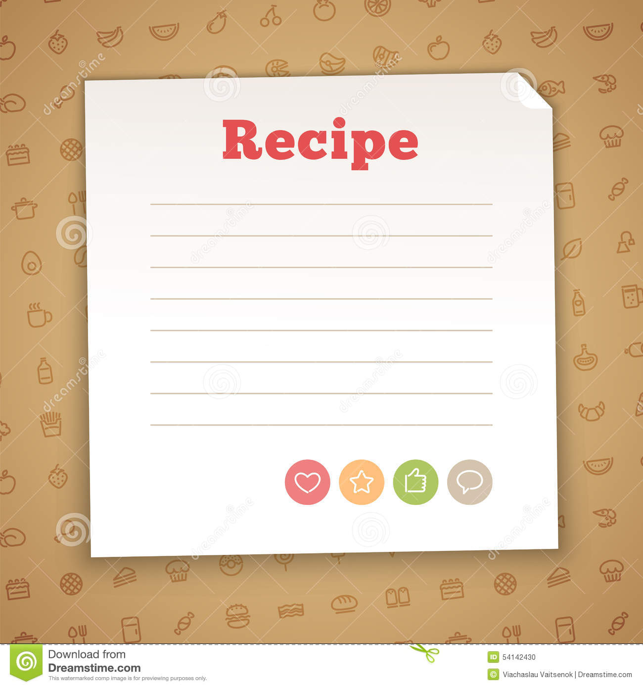 Blank Recipe Card Template Vector Image 54142430 – Blank Recipe Template