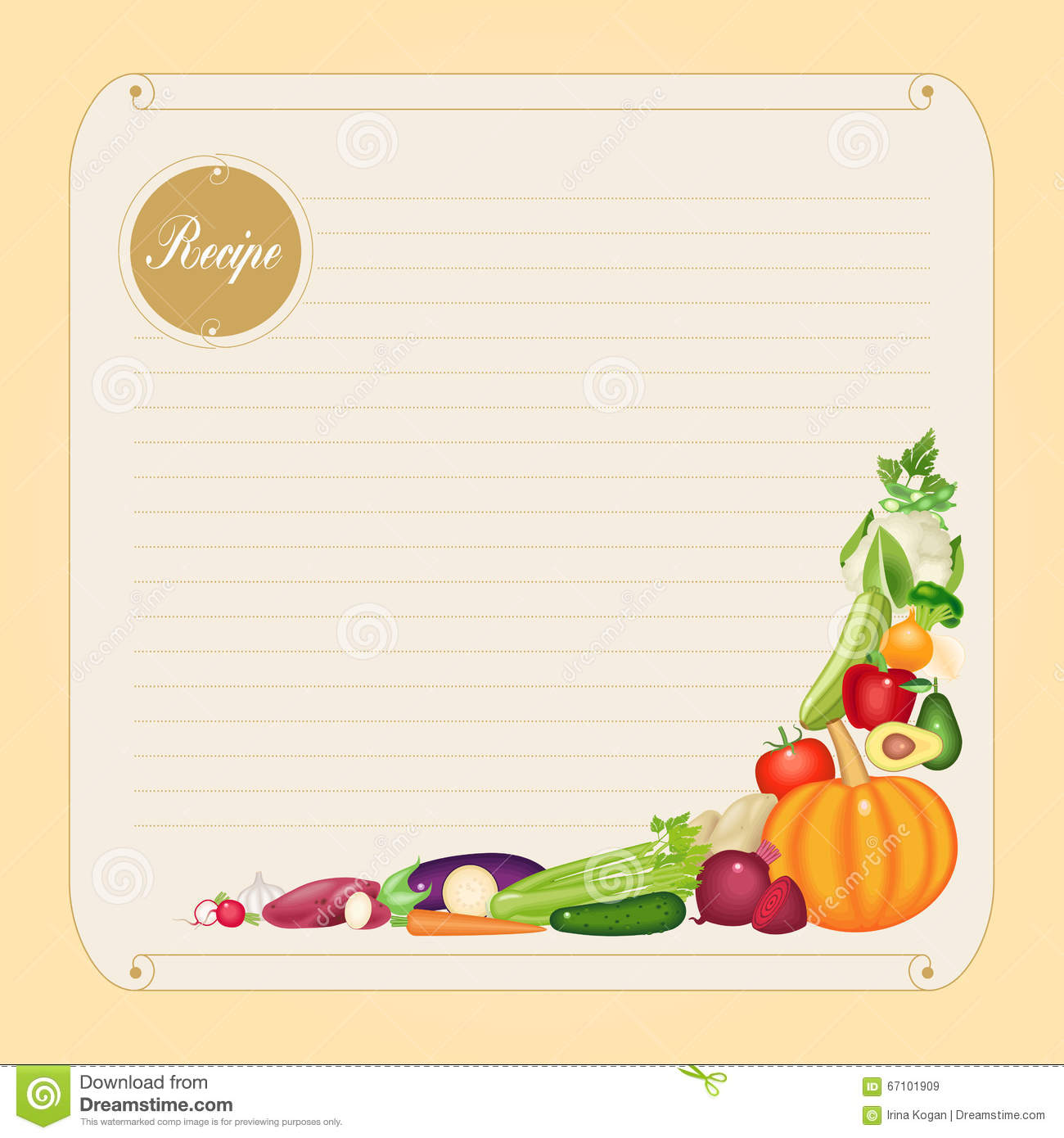 Blank Recipe Card Template In Vector Format Stock Vector - Image ...