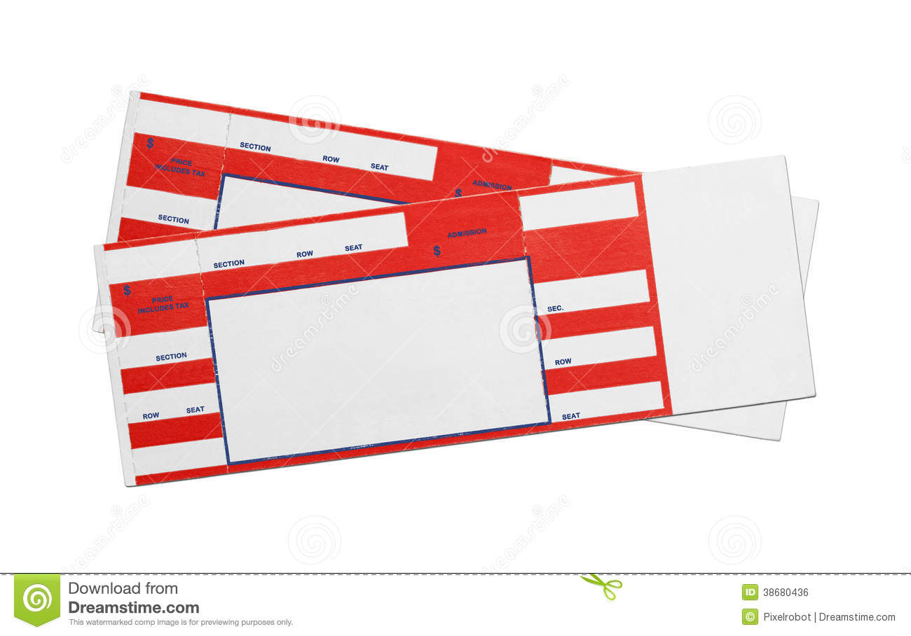 blank red concert tickets stock photo image of chair 38680436