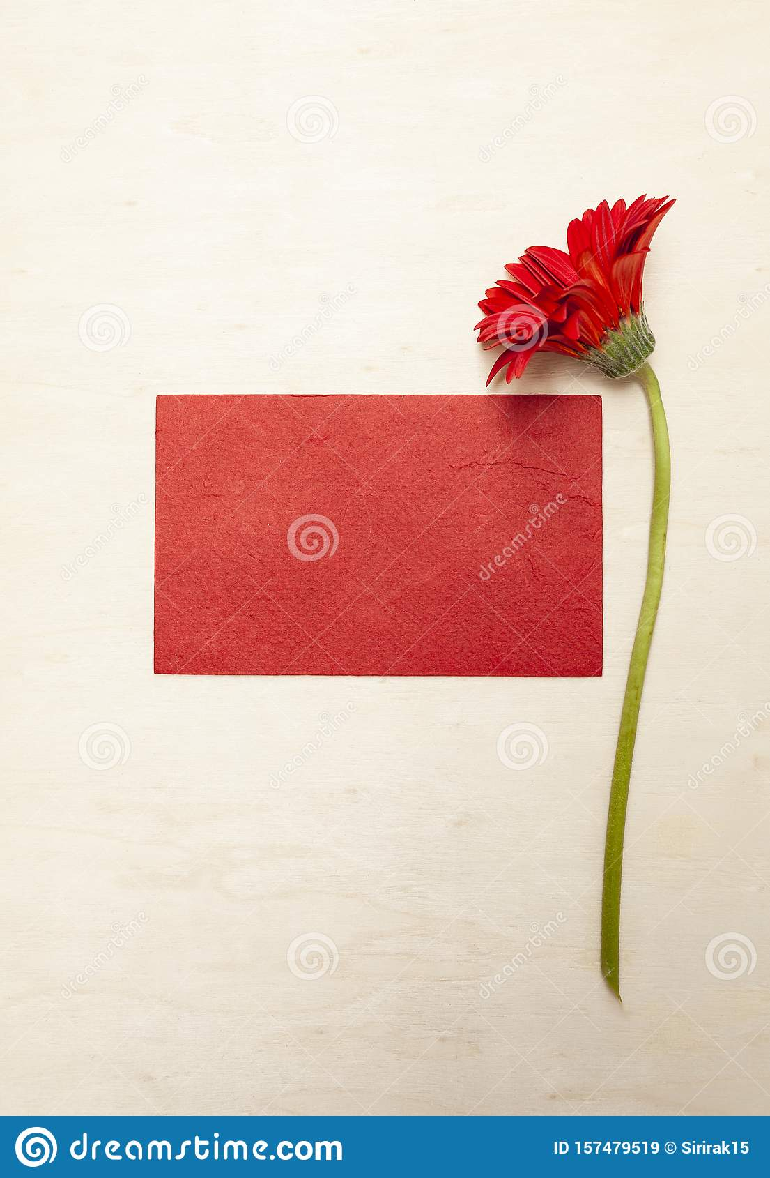 Blank Red Paper Card With Beautiful Red Flower On Wood ...