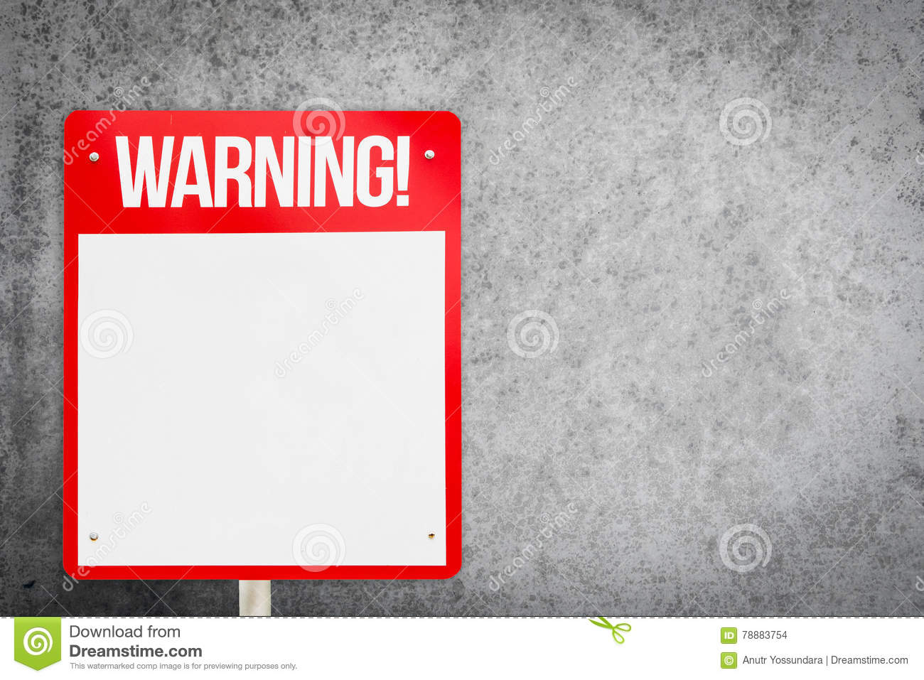 Blank Red Warning Sign On Gray Background  Stock Photo