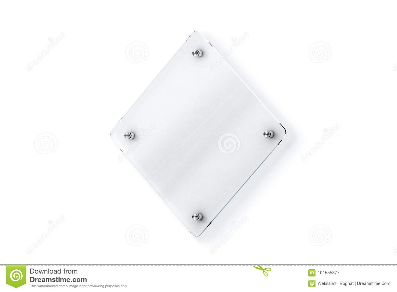 Blank Rhombus Glass Sign Plate Wall Mounted Mock Up Stock Image