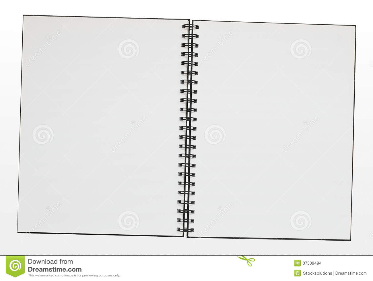 Blank Ring Binder Pad Border Double Page Spread Empty Bound Note Copy Space Clipping Path Included Easy Selection on spiral notebook border
