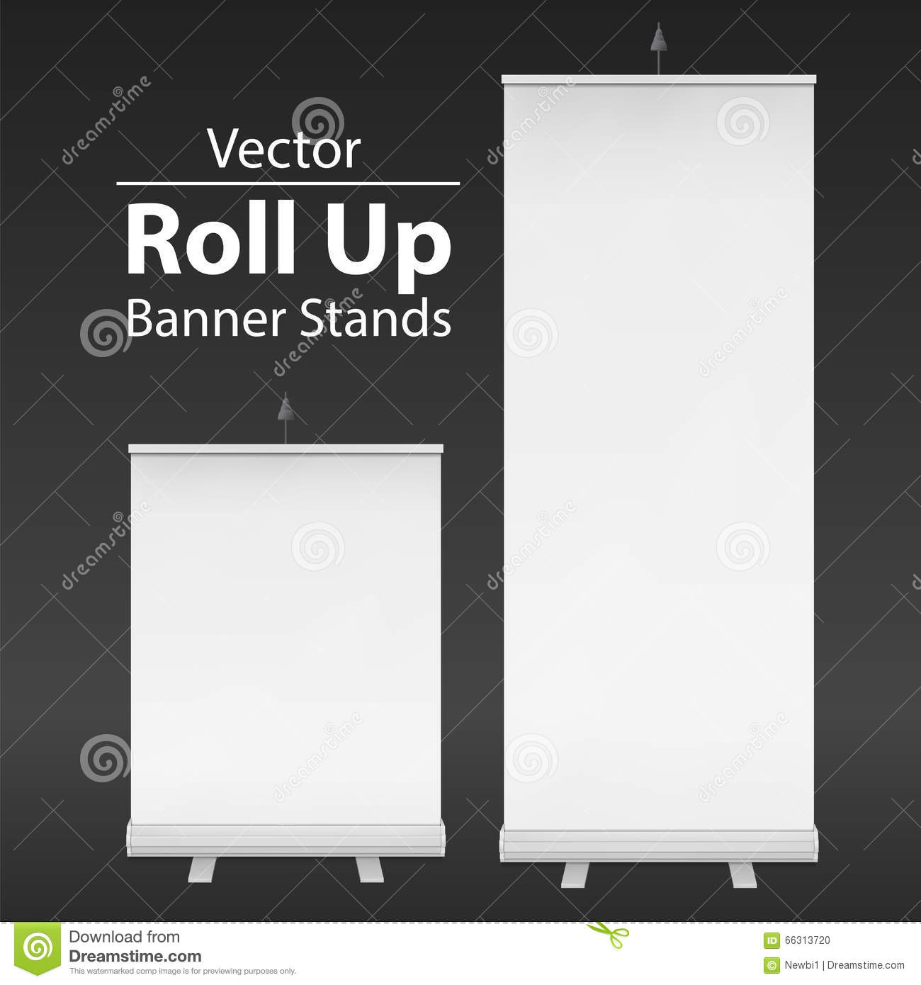 Expo Stand Banner : Blank roll up banner stand vector cartoon