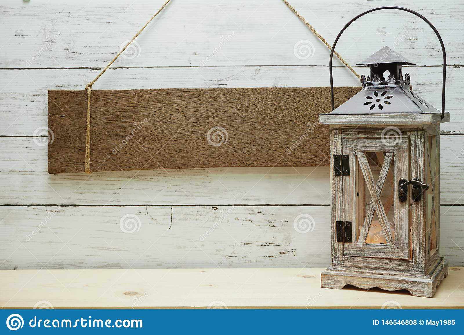 Blank Rustic Wood Sign Hanging With Wooden Lantern Decorate Summer Background Stock Photo Image Of Nautical Holiday 146546808