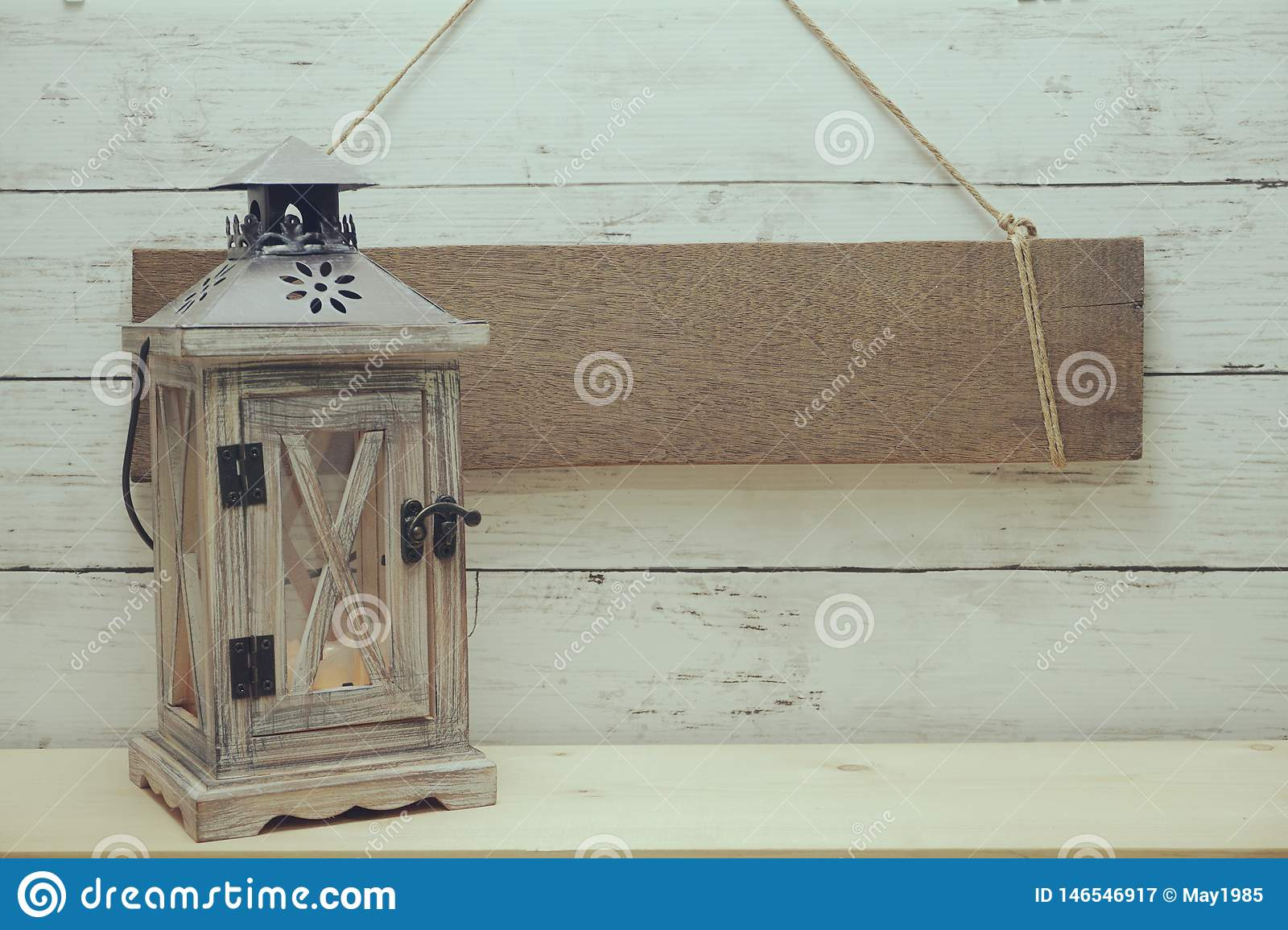 Blank Rustic Wood Sign Hanging With Wooden Lantern Decorate Summer Background Stock Image Image Of Leisure Background 146546917