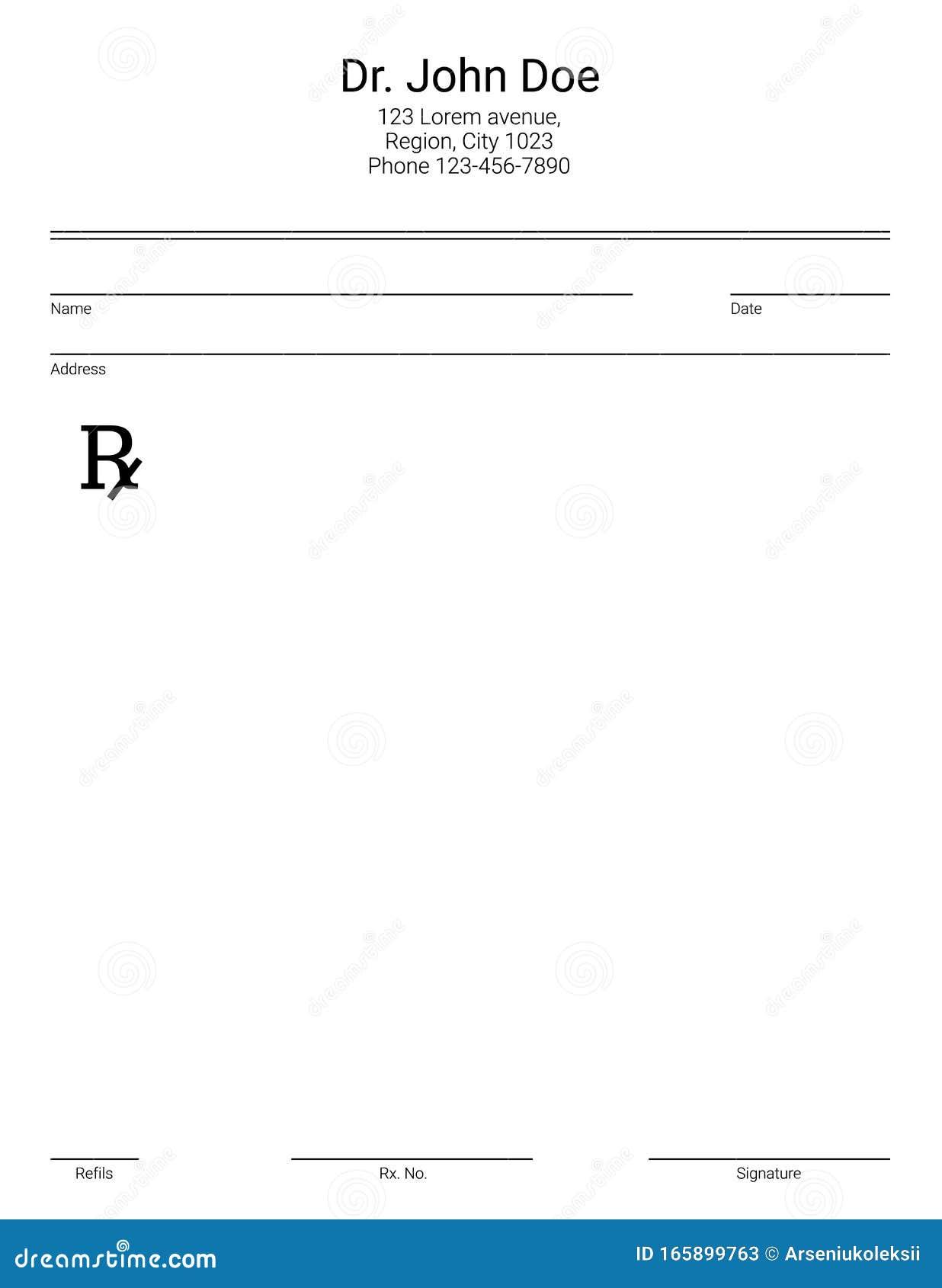 Blank Rx Form for Medical Prescription Stock Vector - Illustration Pertaining To Blank Prescription Form Template
