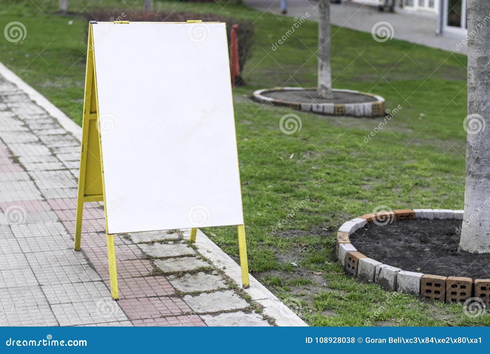 Blank Sandwich Board On A Street Boardwalk Stock Photo - Image of ...