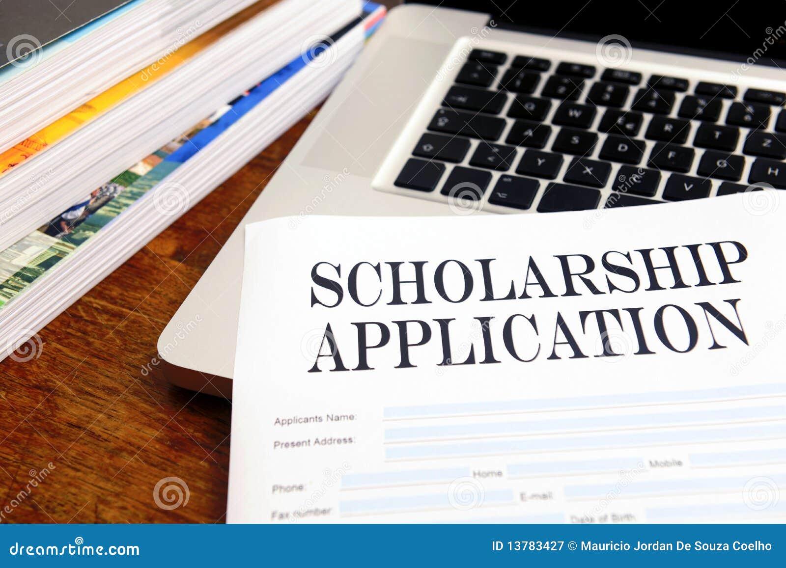 Blank scholarship application on desktop