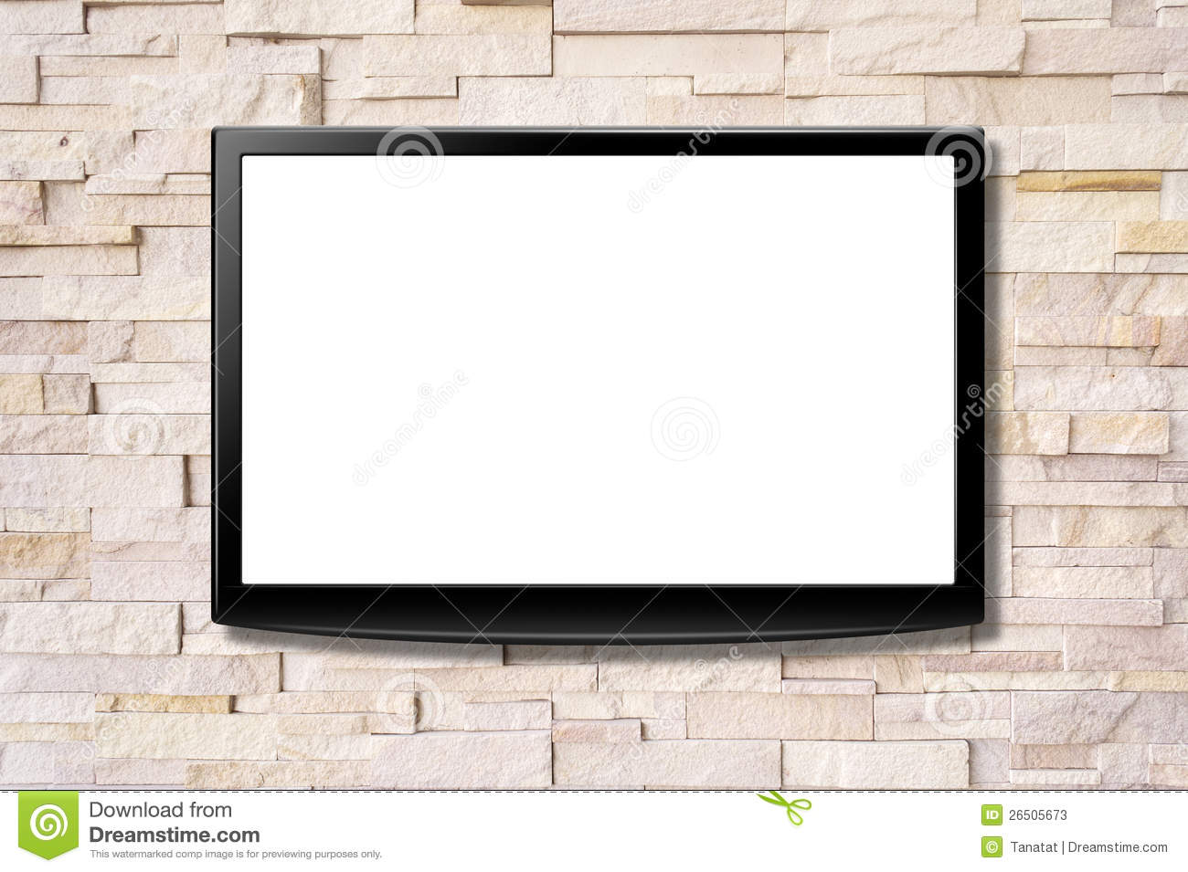 Blank screen lcd tv hanging on a wall stock image image for Best tv to hang on wall