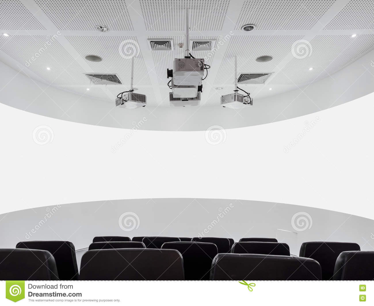 Blank Screen Projector And Audio System With Seats Modern Interior ...