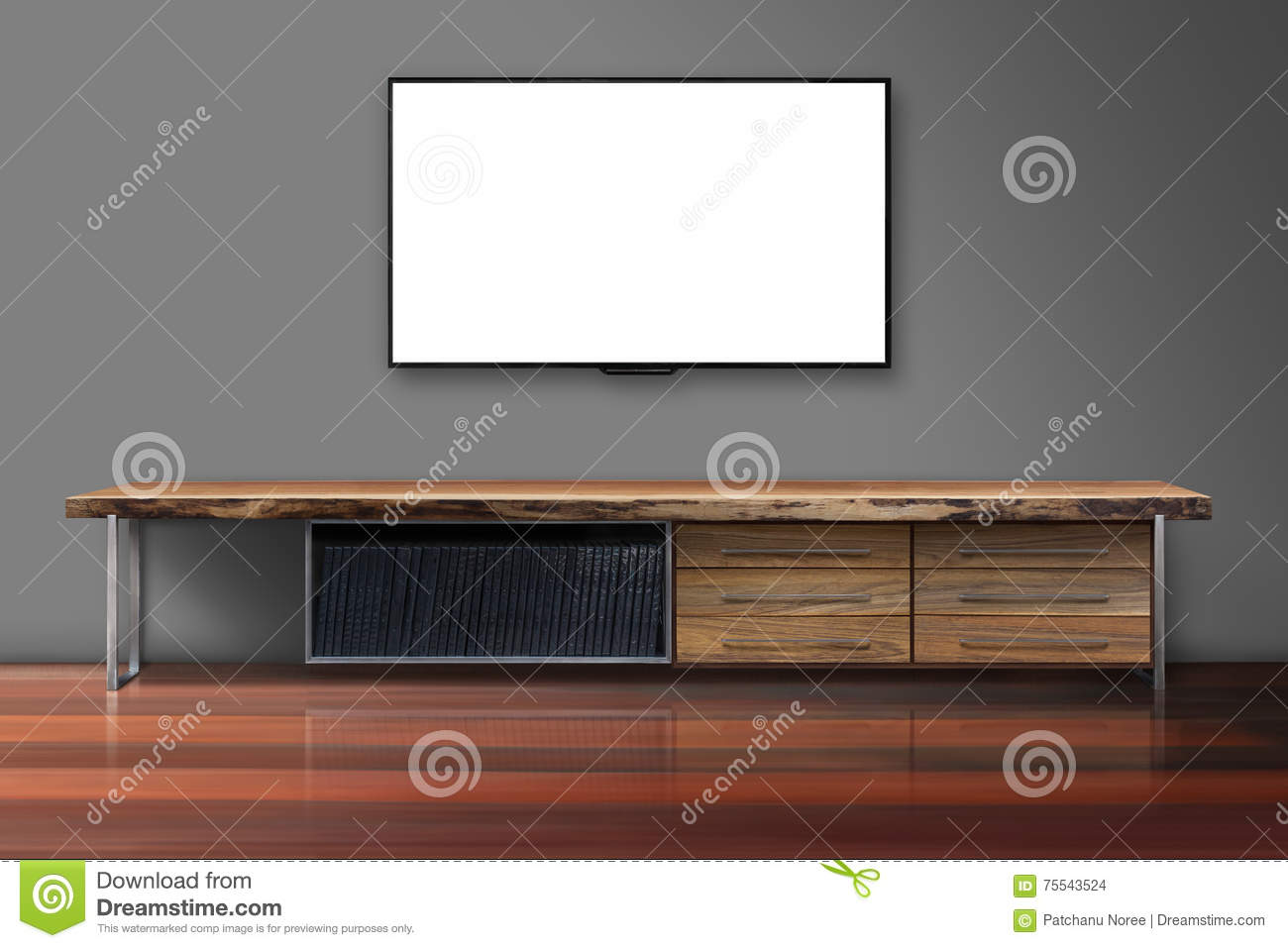 Blank screen tv on concrete wall with wooden table