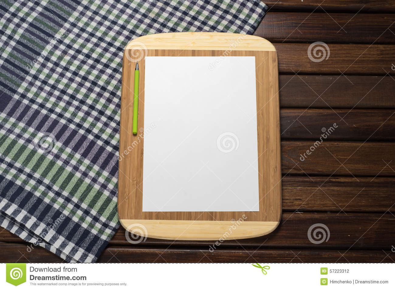 Blank Sheet Of Paper On Kitchen Table Chef Menu Stock Photo Image - The kitchen table menu