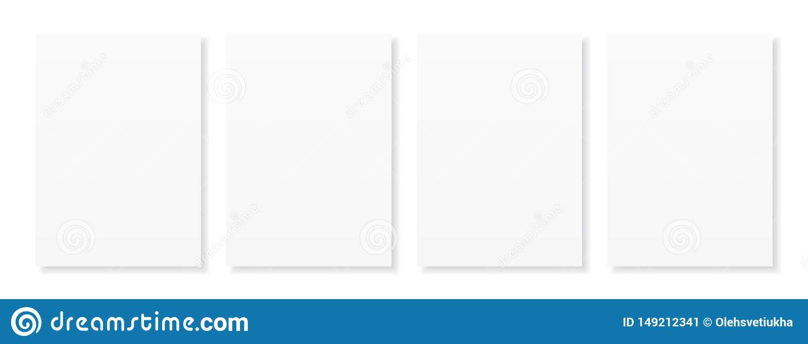 Blank A4 sheet of white paper with shadow, template for your design. Set. Vector illustration