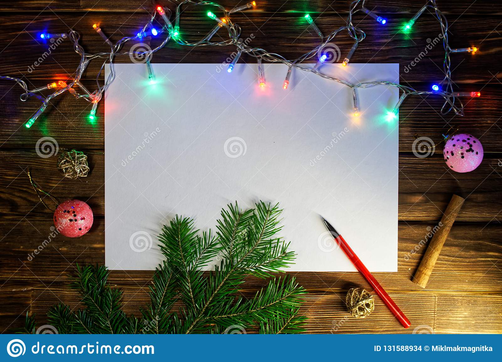 Blank sheet for writing New Year`s wishes, congratulations and gifts. Happy New Year and Merry Christmas