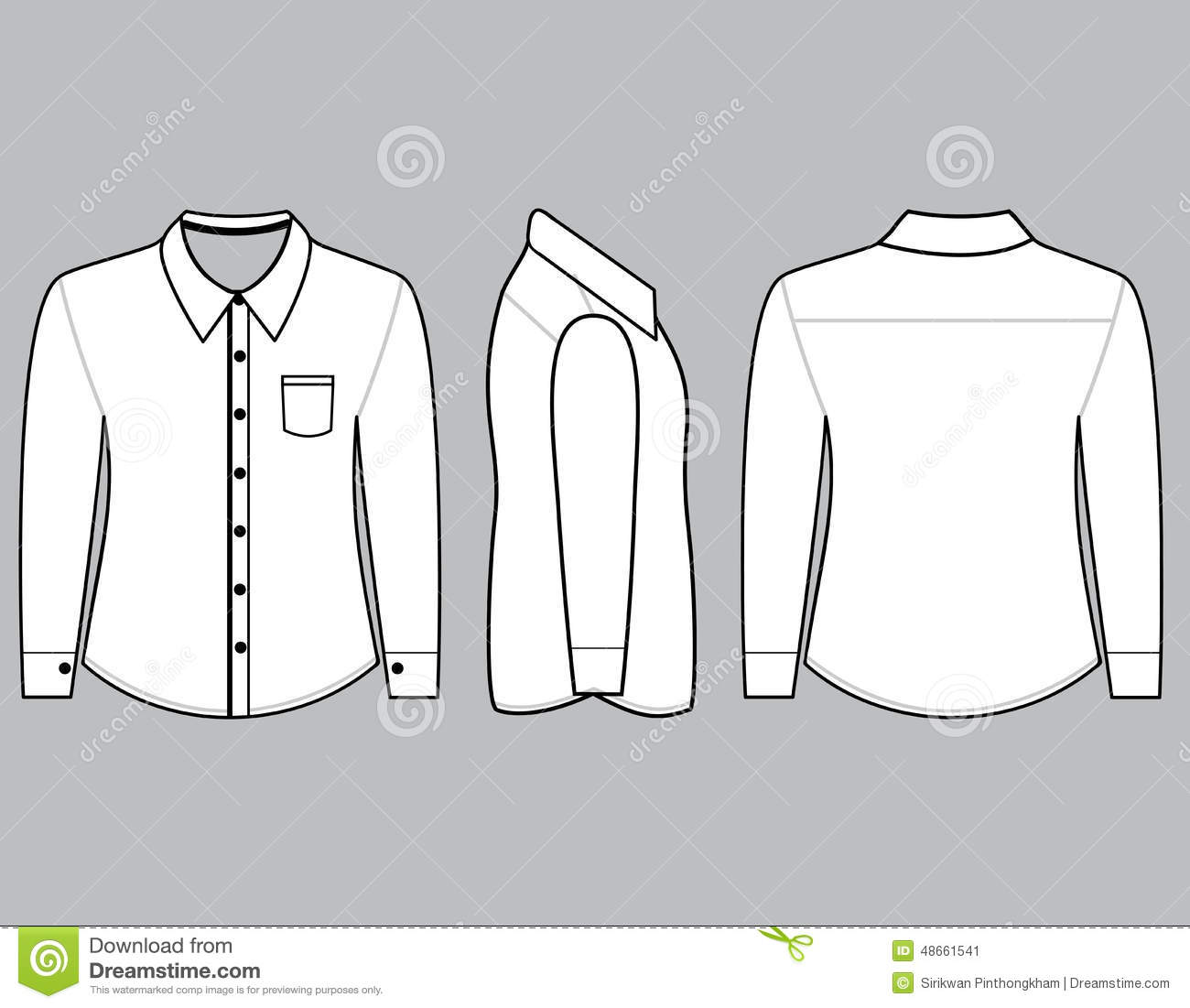 blank shirt with long sleeves template stock illustration illustration of photo apparel 48661541. Black Bedroom Furniture Sets. Home Design Ideas