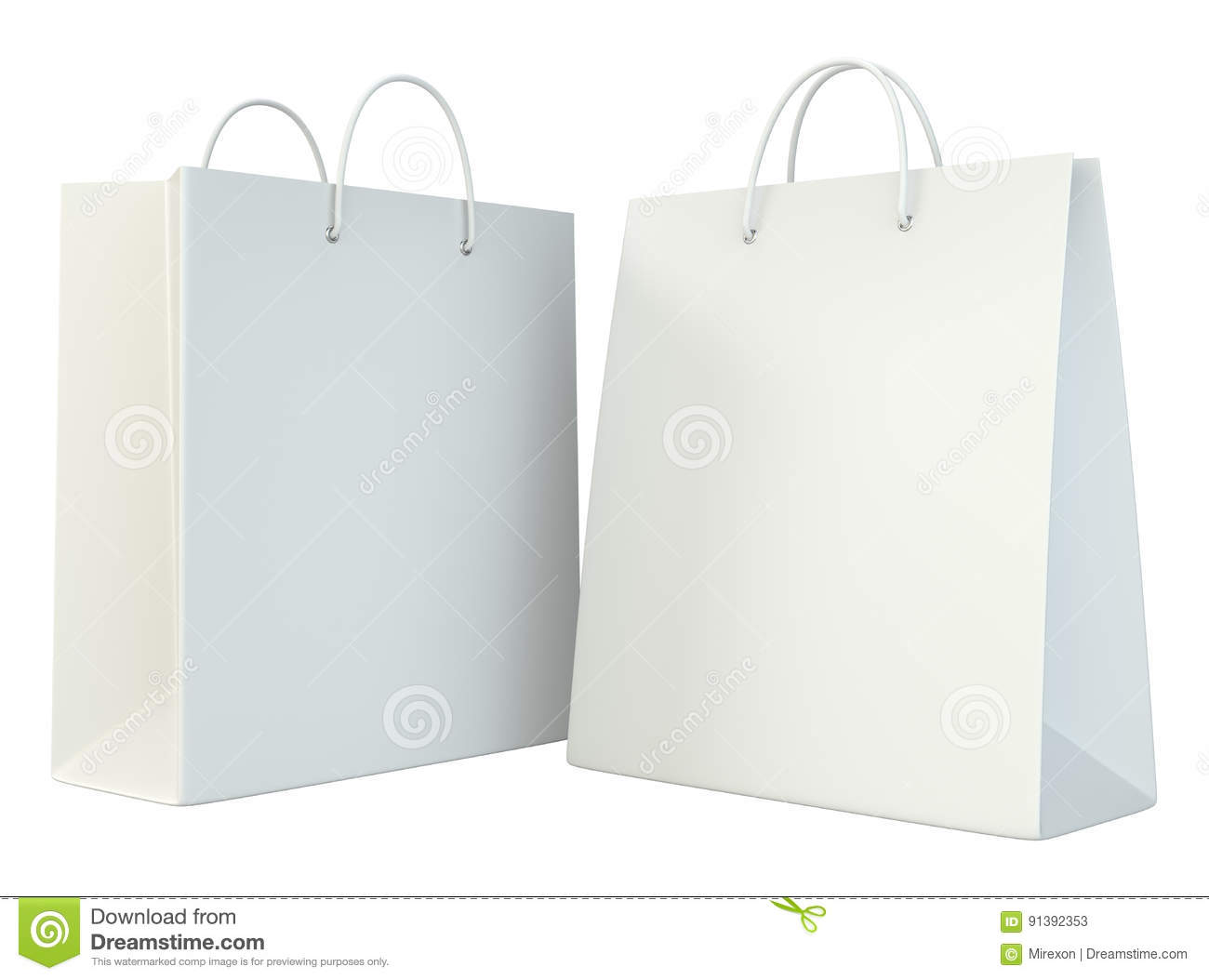 blank shopping paper bags template set stock illustration