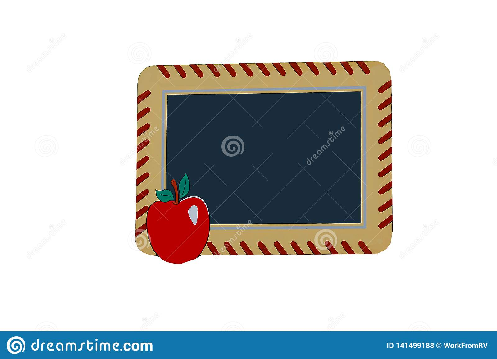 Sign with apple and chalkboard space for your message.
