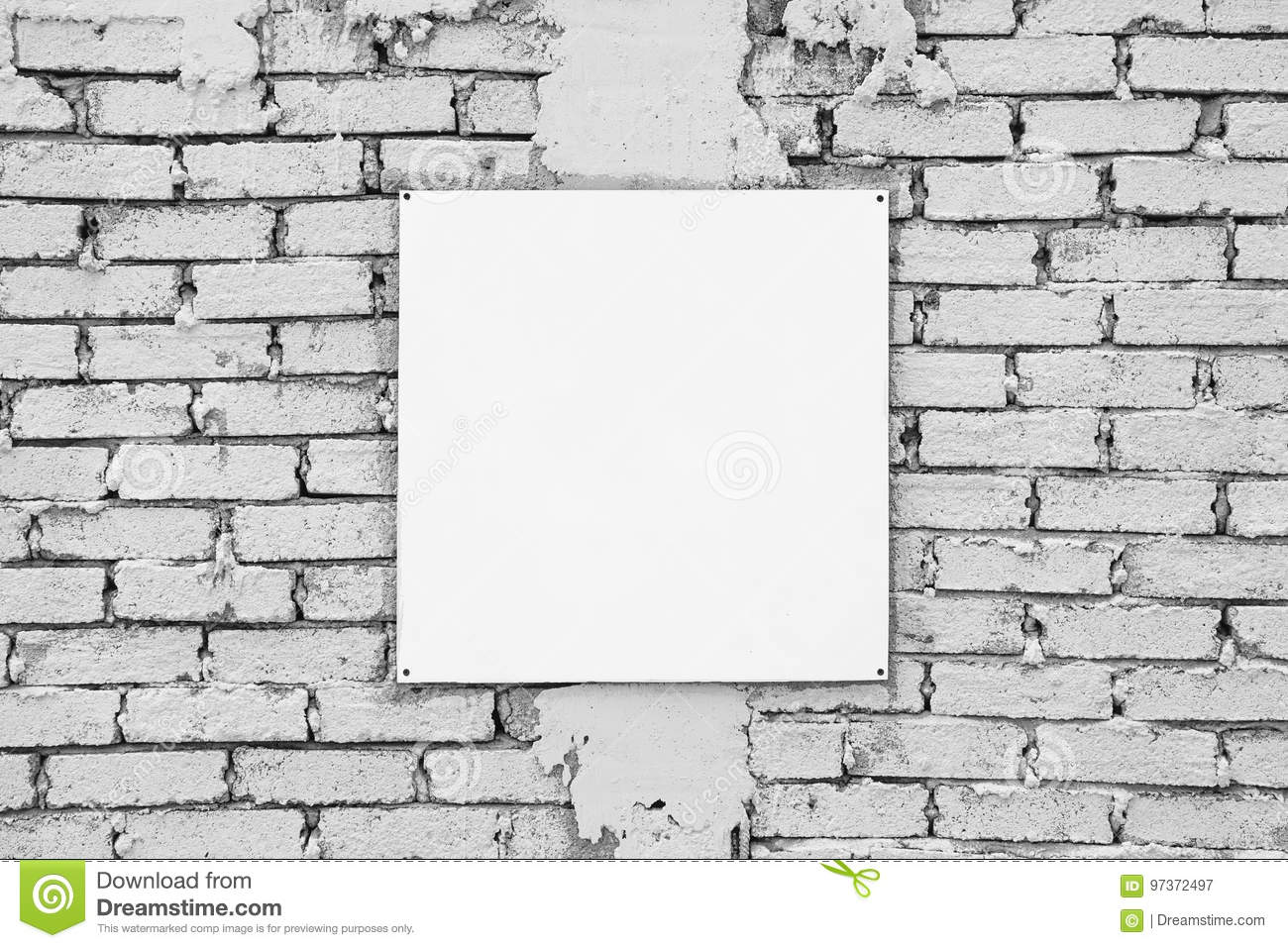 Blank Sign On White Brick Wall. Template Mock Up Stock Image - Image ...