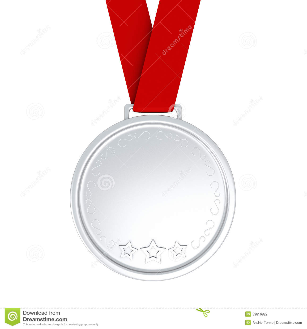 Blank Silver Medal With Ribbon 3d Stock Illustration
