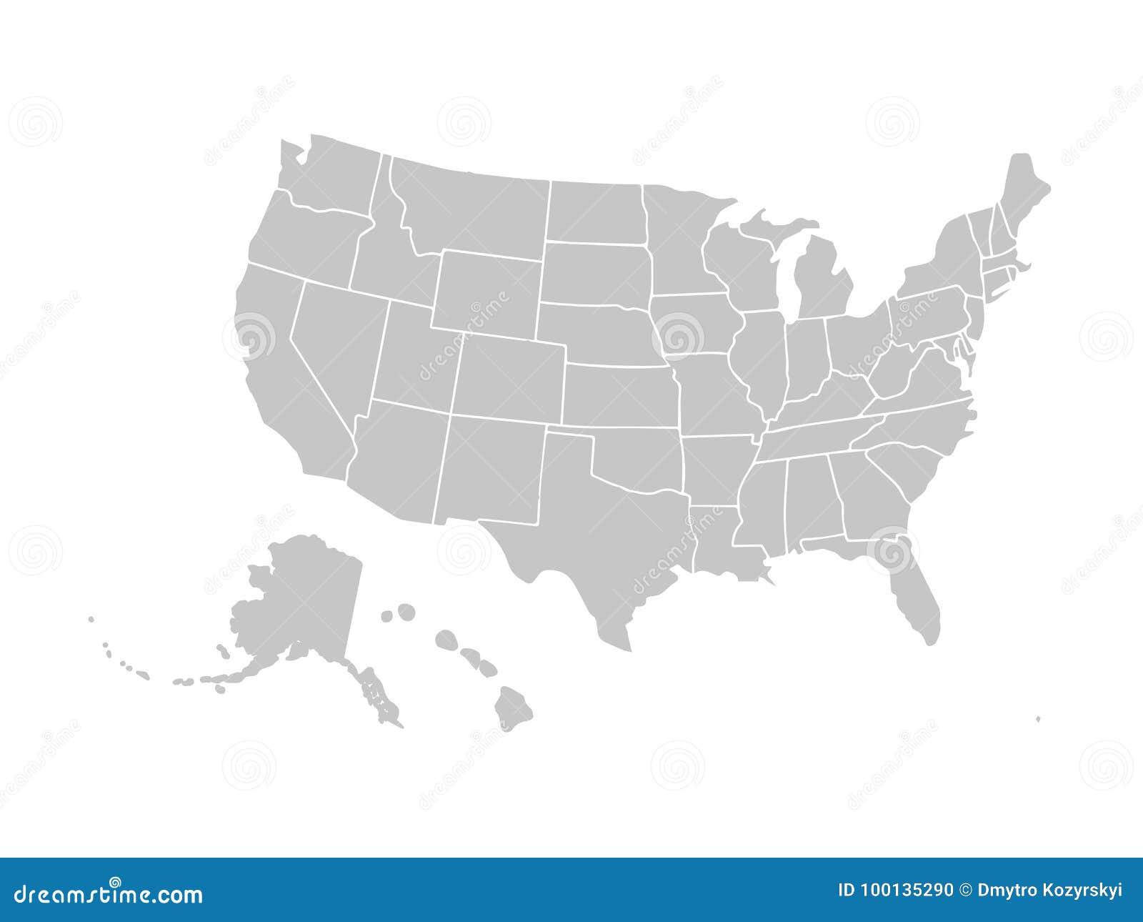 Blank Similar USA Map Isolated On White Background. United States Of ...