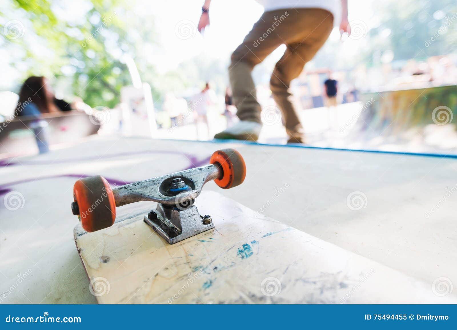 Blank skateboard on the ramp