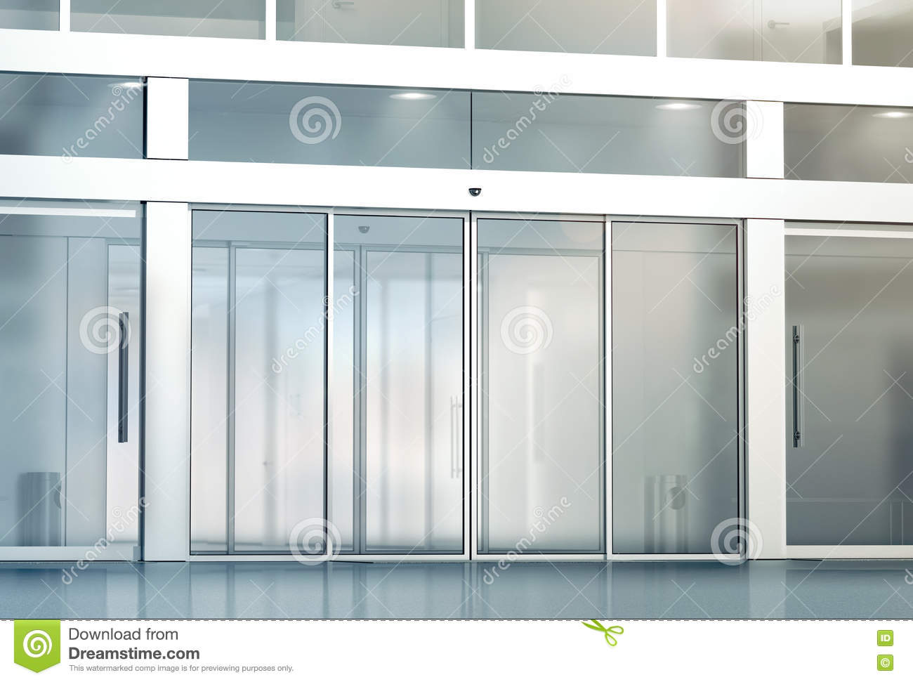 Blank sliding glass doors entrance mockup stock photo for Office glass door entrance designs