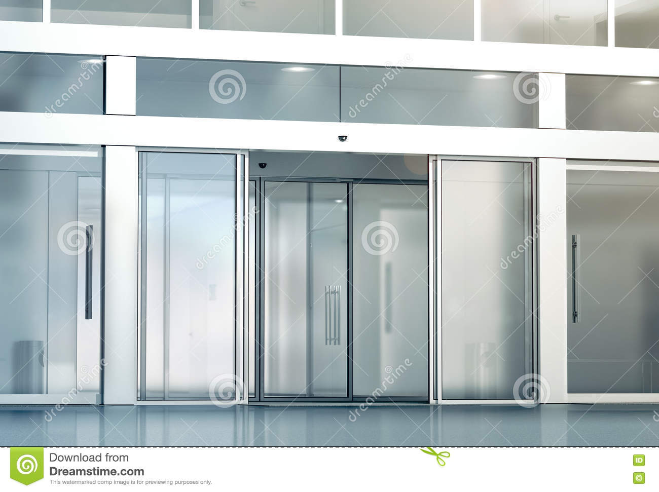 Blank Sliding Glass Doors Entrance Mockup 3d Rendering Commercial Automatic Slide Entry Mock Up Office Building Exterior Template