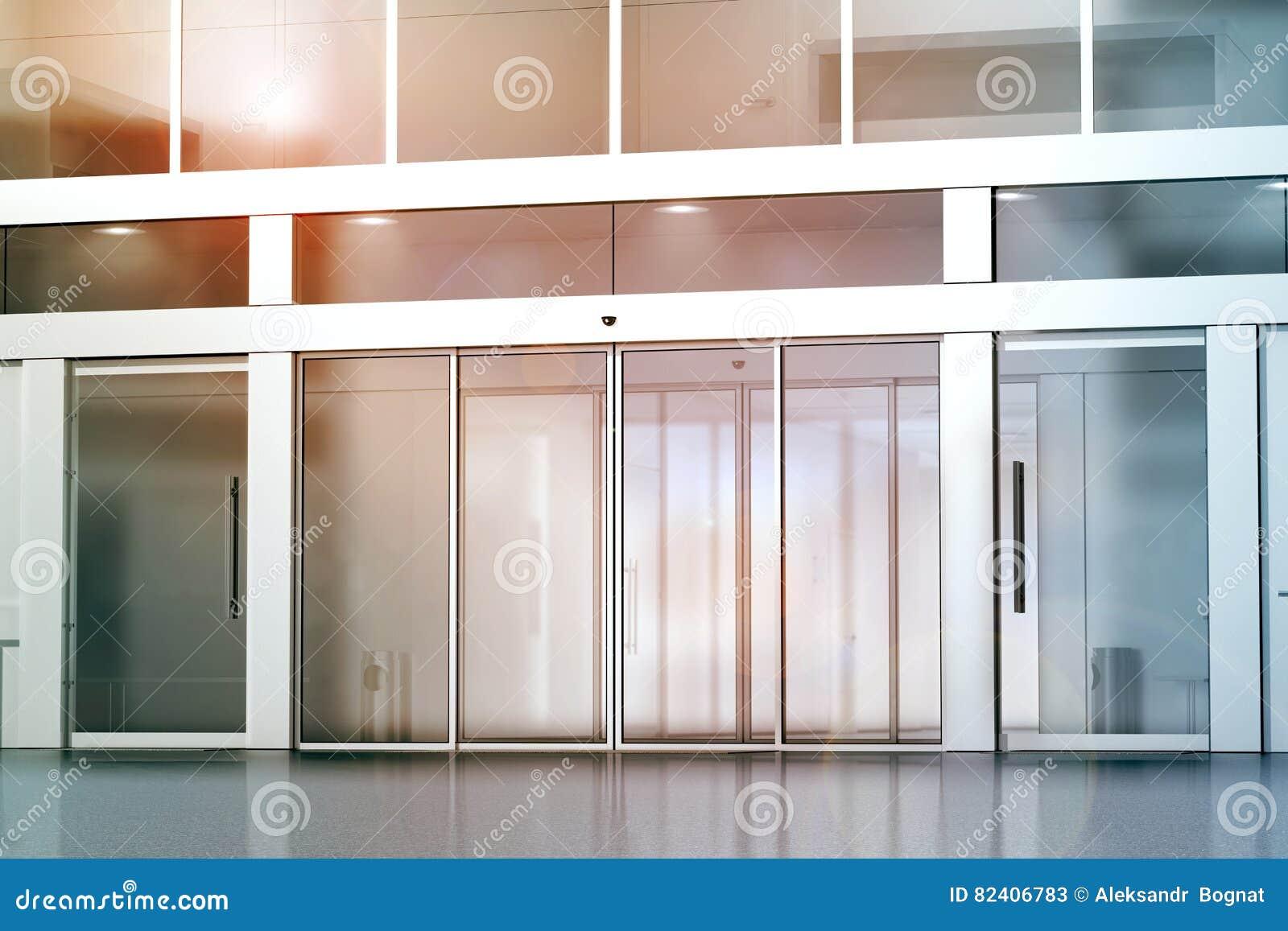 Blank Sliding Glass Doors Entrance Mockup Stock Image Image Of