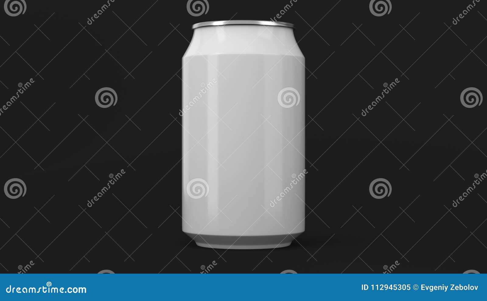 Blank small white aluminium soda can mockup on black background
