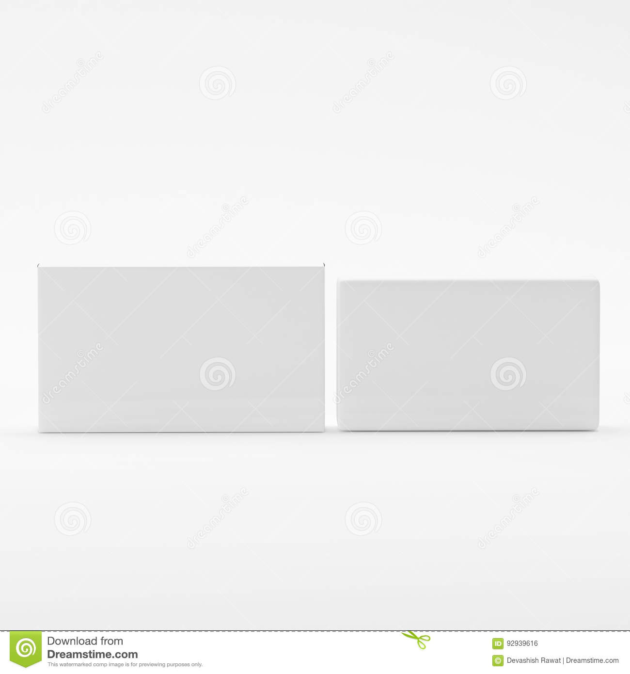 Blank Soap & Box Packaging Mock-Up Template On Isolated