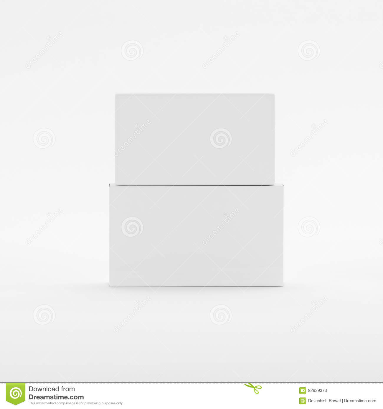 Blank Soap & Box Packaging Mock-Up Template On Isolated White Background