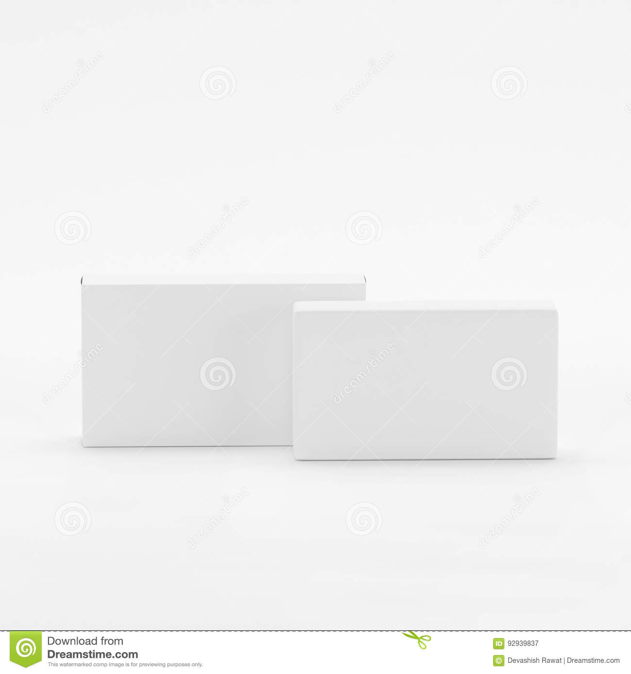 Blank Soap & Box Packaging Mock-Up Template On White Background, Ready For Your Design And Presentation, 3D Illustration