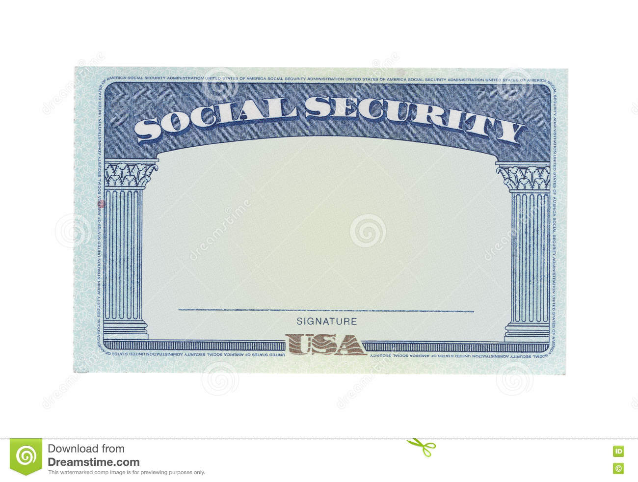 Blank social security card stock photo. Image of money ...