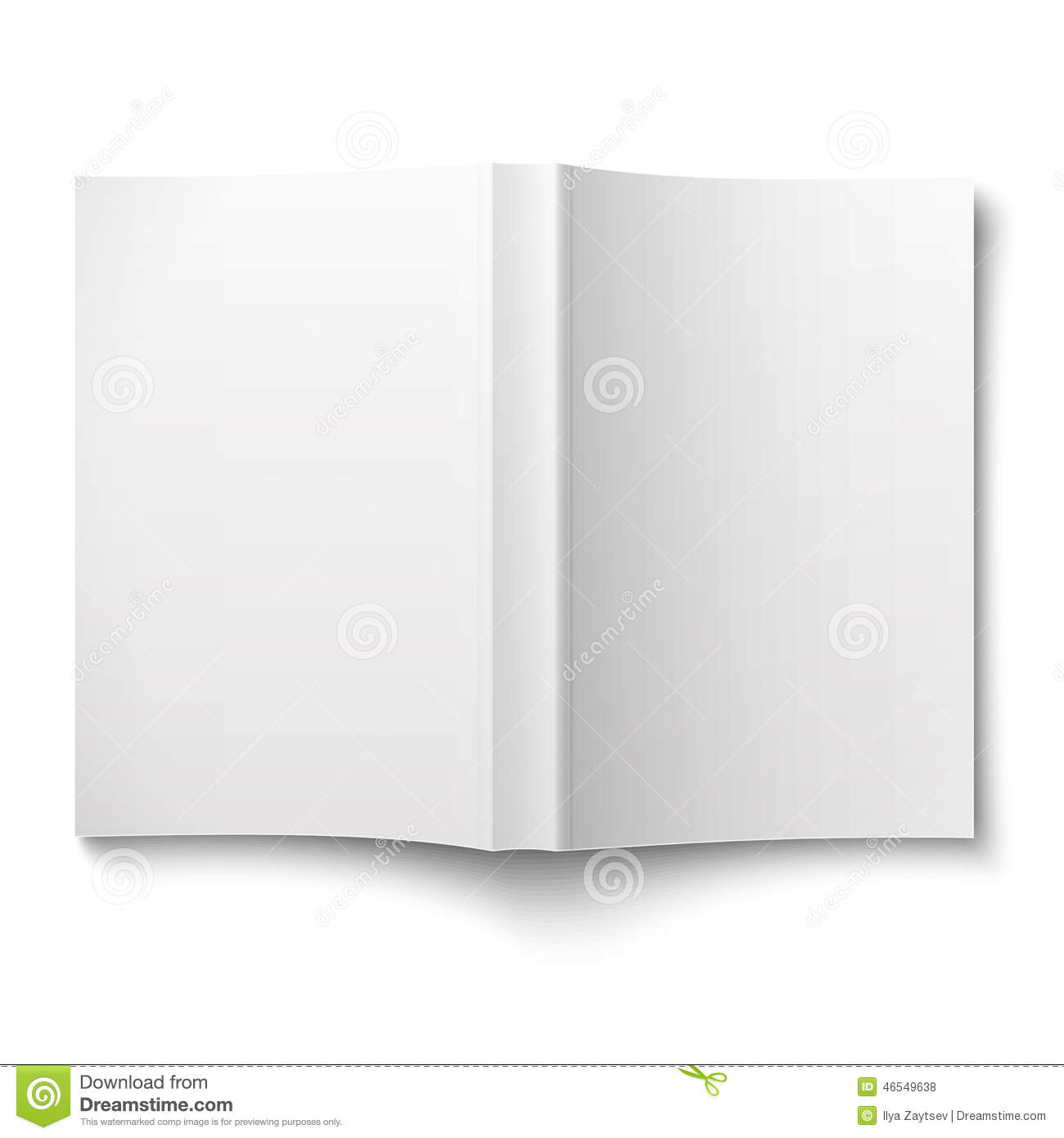 Blank softcover book template spread out on white stock for Book cover template illustrator