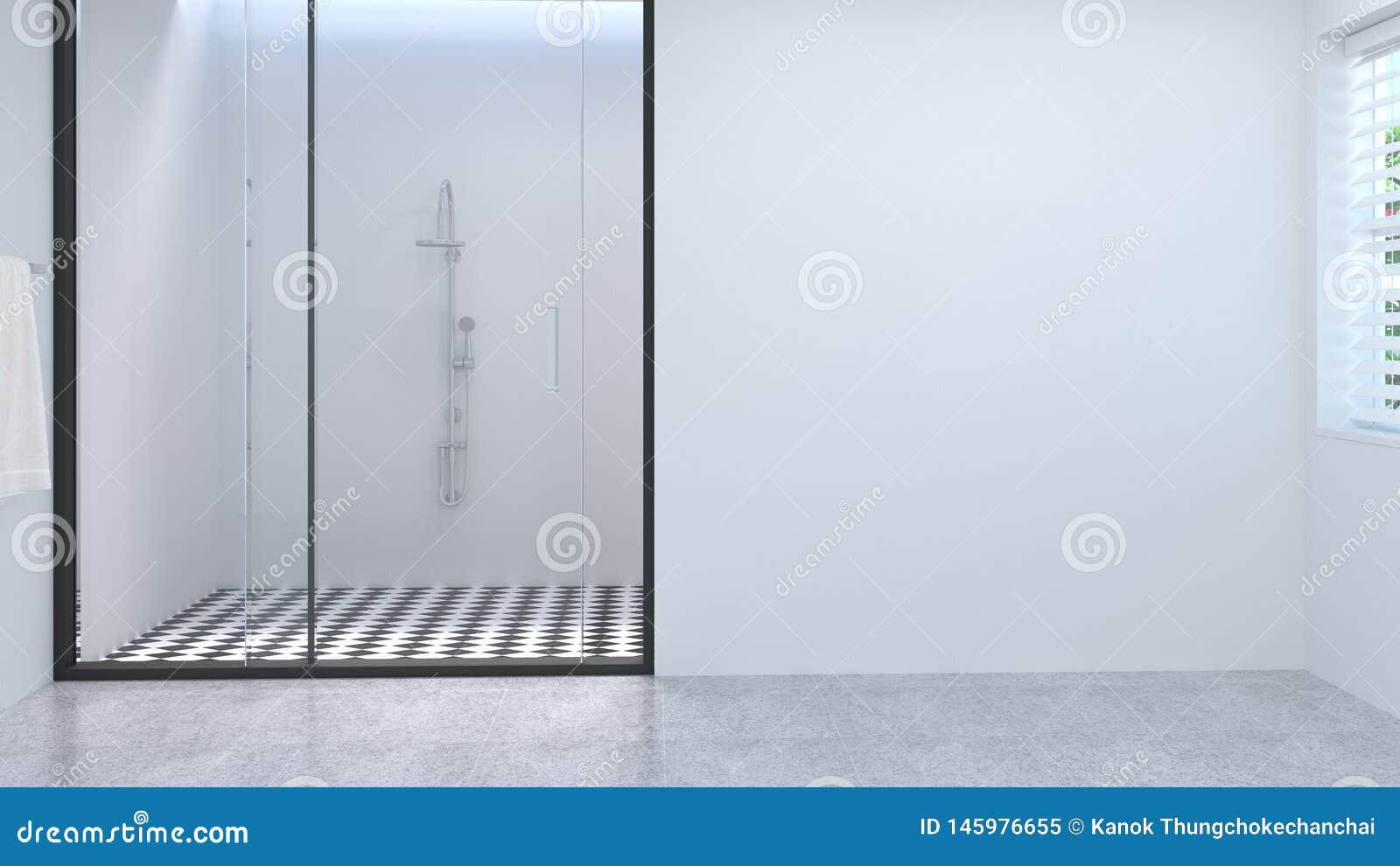 Blank space clean white empty bathroom interior,toilet,shower,modern home design background white tile bathroom 3d rendering